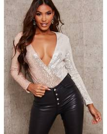 ISAWITFIRST.com Rose Gold Two Tone Sequin Bodysuit - 4 / RED