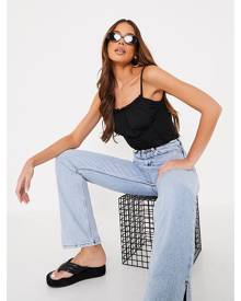 ISAWITFIRST.com Black Ribbed Seam Detail Ruched Bust Crop Top - 4 / BLACK