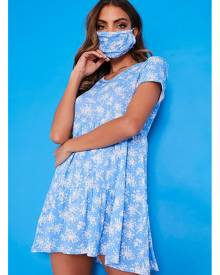 ISAWITFIRST.com Blue Floral V Neck Short Sleeve Smock Dress With Matching Mask - 4 / BLUE