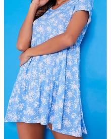ISAWITFIRST.com Blue Floral V-Neck Short Sleeve Smock Dress With Matching Mask - 8 / BLUE