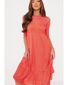 ISAWITFIRST.com Red Polka Dot Smock Midi Dress - 4 / RED