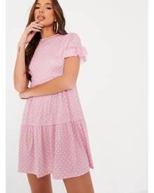 ISAWITFIRST.com Pink Polka Dot Tiered Smock Dress - 4 / PINK