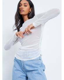 ISAWITFIRST.com White Mesh Ruched Side Long Sleeve Top - 4 / WHITE