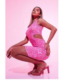 ISAWITFIRST.com Neon Pink Leopard Slinky Cut Out Bodycon Dress - 4 / PINK