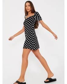 ISAWITFIRST.com Black Polka Dot Puff Sleeve Tea Dress - 4 / BLACK