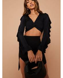 ISAWITFIRST.com Black Twist Front Ruffle Sleeve Crop Top - 4 / BLACK