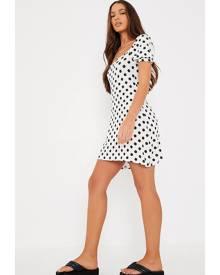 ISAWITFIRST.com White Polka Dot Puff Sleeve Tea Dress - 4 / WHITE