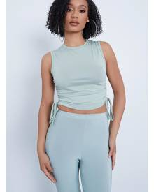 ISAWITFIRST.com Sage Ruched Side Sleeveless Crop Top - 4 / GREEN