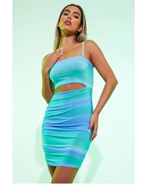 ISAWITFIRST.com Blue Omre Print Cut Out Middle Strappy Mini Dress - 4 / BLUE