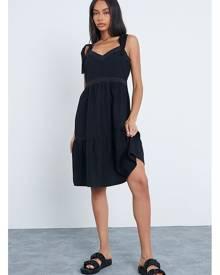 ISAWITFIRST.com Black Vest Tie Strap Mini Dress With Lace Trim Detail - XS / BLACK