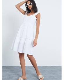 ISAWITFIRST.com White Vest Tie Strap Mini Dress With Lace Trim Detail - XS / WHITE