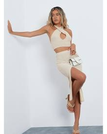 ISAWITFIRST.com Stone Knitted Crop Top With Cut Out Midi Skirt Co-Ord Set - 4 / BEIGE