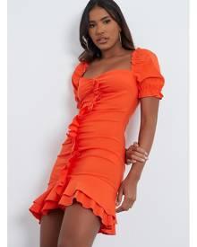 ISAWITFIRST.com Orange Bengaline Ruffle Sweetheart Neck Bodycon Dress - 4 / ORANGE