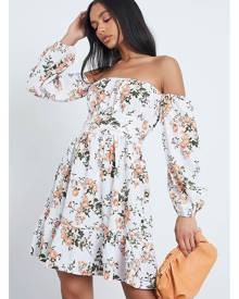 ISAWITFIRST.com White Woven Floral Print Square Neck Puff Sleeve Skater Dress - 4 / WHITE