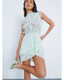 ISAWITFIRST.com Mint Green Lace And Ruffe Detail Mini Skater Dress - 4 / GREEN