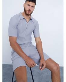 ISAWITFIRST.com Grey Men's Ribbed Polo & Shorts Set - XS / GREY