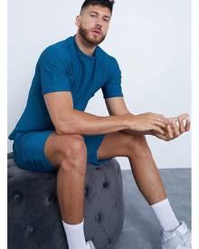 ISAWITFIRST.com Teal Men's Textured T-Shirt & Shorts Set - XS / BLUE