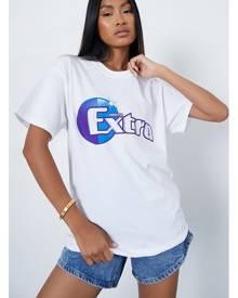 ISAWITFIRST.com White Extra Oversized Graphic T-Shirt - XS / WHITE