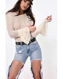 ISAWITFIRST.com Cream Large Frill Sleeve Bodysuit - 6 / WHITE