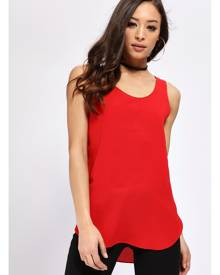 ISAWITFIRST.com Red Chiffon Round Neck Top - XS / RED
