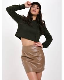 ISAWITFIRST.com Stone Pu Mini Skirt - 6 / BEIGE