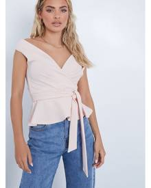 ISAWITFIRST.com Blush Pink Wrap Front Short Sleeve Blouse - 4 / PINK