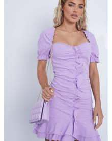 ISAWITFIRST.com Lilac Bengaline Ruffle Sweetheart Neck Bodycon Dress - 4 / PURPLE