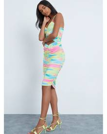 ISAWITFIRST.com Multi Slinky Cami Cut Out Ruched Bodycon Dress - 8 / MULTI