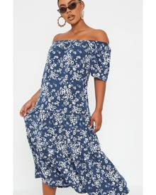 ISAWITFIRST.com Navy Ditsy Floral Woven Bardot Midi Dress - 4 / BLUE