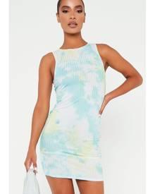 ISAWITFIRST.com Aqua Sea Tie Dye Racer Rib Bodycon Dress - 4 / BLUE
