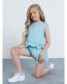 ISAWITFIRST.com Baby Blue Children's Linen Frill Hem Blouse And Floaty Short Set - 3-4 / BLUE
