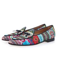 milanoo.com Milanoo Mens Ethnic Embroidered Leather Loafers Prom Shoes with Tassel