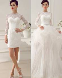 milanoo.com Milanoo Ivory A-Line Rhinestone Lace Semi-Sheer Wedding Dress