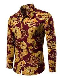 milanoo.com Men Casual Shirt Chinese Dragon Print Slim Fit Red Long Sleeve Shirt