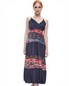 milanoo.com Boho Summer Dress Women Tribal Style Long Slip Dress