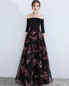 milanoo.com Prom Dresses Long Off The Shoulder Floral Print Floor Length Formal Evening Dress