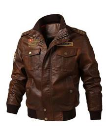 milanoo.com Man\\'s Leather Jacket Retro Words Print Moto Jacket Fall Black