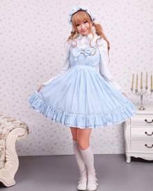milanoo.com Milanoo Cotton Blue White Gingham Check School Lolita Dress