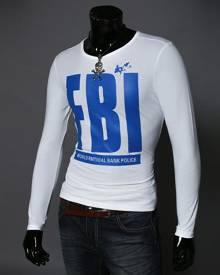 milanoo.com Men's T Shirt White Round Neck Long Sleeve Letters Print Cotton Top
