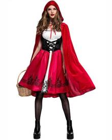 milanoo.com Milanoo Women Holidays Costumes Red Riding Hood Printed Dress Holiday Costume Carnival