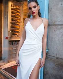 milanoo.com White Long Dress Sexy Slip Dress V Neck Split Sleeveless Backless Maxi Dress