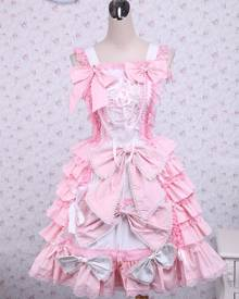 milanoo.com Sweet Pink Cotton Loltia Jumper Dress Bows Layers Ruffles