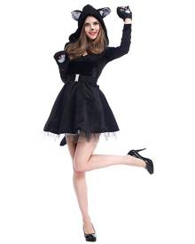 milanoo.com Women Haloween Costumes Black Cats Velour Skater Dress Holiday Animal Costume