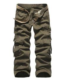 milanoo.com Men Cargo Pant Cotton Pocket Straight Leg Tactical Pant
