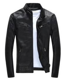 milanoo.com Black Leather Jacket 2020 Zipper Pockets Pu Slim Fit Moto Jacket For Men