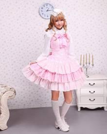 milanoo.com Milanoo Cotton Pink Lace Front Ties Bow Sweet Lolita Dress