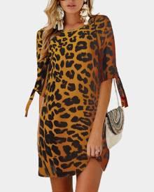 milanoo.com Shift Dress Half Sleeves Leopard Print Casual Jewel Neck Tunic Dress