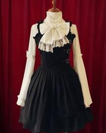 milanoo.com Milanoo Black Lolita Dress Straps Buckles Cotton Dress for Women