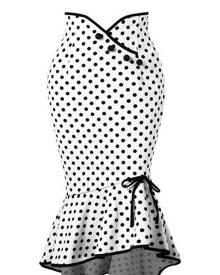 milanoo.com Vintage Pencil Skirt Polka Dot Fishtail Button Bow Asymmetrical Midi Skirt