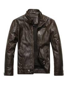 milanoo.com Leather Bomber Jacket For Men